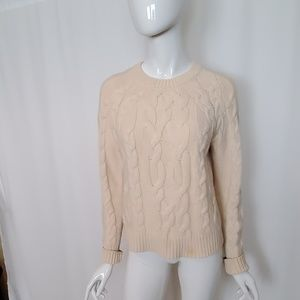 Ann Taylor Cream Wool Blend Cable Knit Sweater